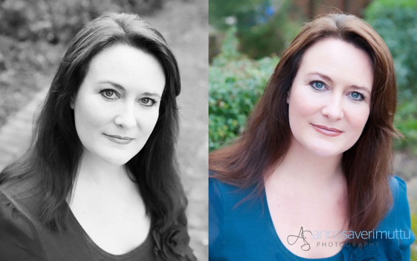 Portraits in black and white and colour of female actor