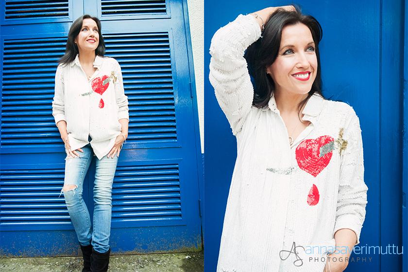 fifibaggins models Natalie B Coleman heart and dagger sequin shirt